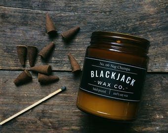 No. 06 NAG CHAMPA Blackjack Wax Co. Handmade Soy Wax Candle 1/2 lb. Amber Jar Candle, Incense Candle, Scented Candle, Hand Poured Candle