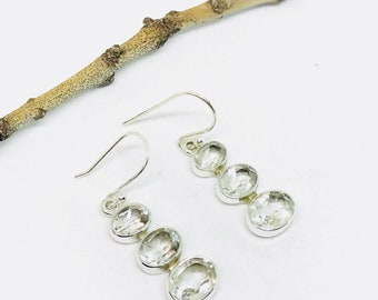 Clear cryatal quartz earrings set in sterling sliver 92.5. Natural crystal quartz stones. Length-1 inch long. Perfectly mtached stones