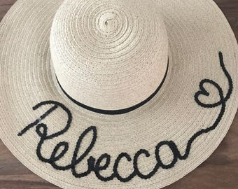 Personalised floppy hat, customised hat, personalised beach hat, bespoke hat, floppy hat, straw hat, personalised sun hat, sequins