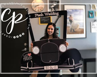 Wedding photo booth frame | Car photo booth prop | Vintage photo booth | Selfie frame | Photo prop | Printed