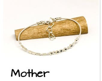 Mother, Morse code message bracelet, Mother's Day gift, hidden message bracelet, leather and sterling silver