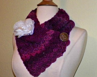 On Sale- Purple  Scarf Triangle Infinity With Button Winter Neckwarmer With Flower Brooch Freeform Crochet