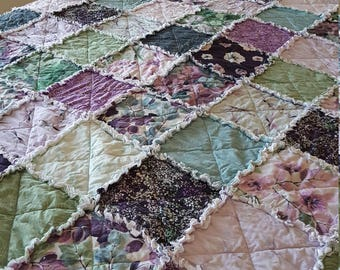 Essence of Pearl -  Lavender, Purple, Teal, Green, Gray - Full Size Rag Quilt, Large Picnic Rag Quilt