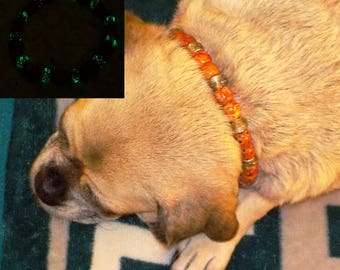 Glow In The Dark Beaded Dog ~ Cat Collier (Red, Mustard Seed & Gold Necklace)