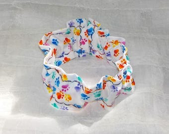Colorful EASTER Paw Prints  (Scrunchie) Dog/Cat Collar Cover Small, Medium