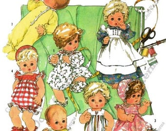 """Baby Doll Clothes Pattern for 17"""" - 18"""" Large Dolls such as Dy Dee Baby"""