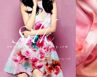 Pink silk Satin buy Rose fabric 110x118cm