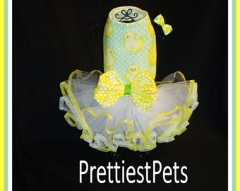 Easter Dog Dress Chick Chick Dog Dress Limited Fabric! Dog Tutu Spring Dog Dress Easter Cat Dress Prettiest Pets Designs