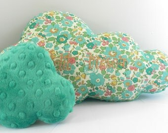 Duo of green floral cloud cushion
