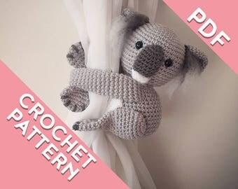 Koala curtain tie back crochet PATTERN , tieback, left or right side crochet pattern PDF instant download amigurumi PATTERN