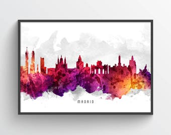 Madrid Poster, Madrid Skyline, Madrid Cityscape, Madrid Print, Madrid Art, Madrid Decor, Home Decor, Gift Idea, ESMD14P
