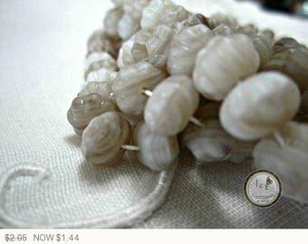 ON SALE Brown Rondelle Glass Beads White Czech Glass Beads Brown Rondelles Czech Glass Beads White Rondelle Beads 9x6mm (20 pcs) 147V3