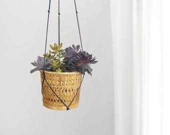 Black and Natural Beige Large Hanging Planter | Vintage Wicker Basket Woven Rattan Succulent Plant Pot Holder & Macrame Hanger | Boho Decor