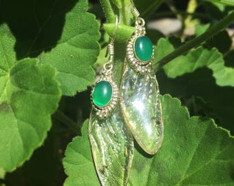 Cicada wings earrings organic materials handmade cast in resin with green onyx and sterling silver from new zealand