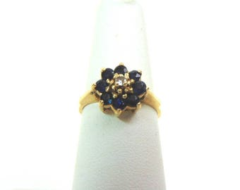 Womens Vintage Estate 14K Yellow Gold Ring w/ Blue Sapphire & Diamond  3.2g #E3228