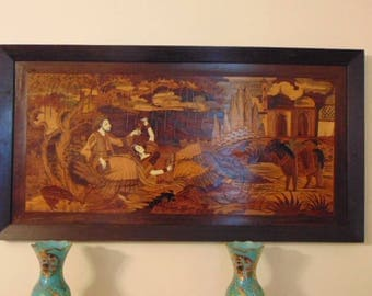 Vintage Antique Persian Inlaid Wooden Marquetry Art