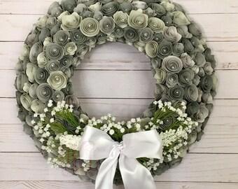 Paper Flower Wreath, Paper Flowers, Flowers, Home Decor, Wedding Decor