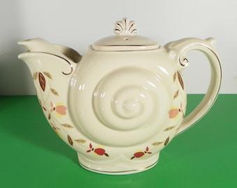 Hall China Jewel Tea Autumn Leaf NAUTILUS Teapot with Lid 4-cup