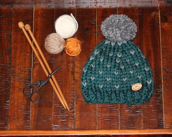 Chunky Knit Heart Hat with Pom Pom and Wood Button, Hand Knit Hat, Teal and Gray Hat