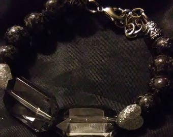 Black and Silver Heart Charms Bracelet with Hanging Chain