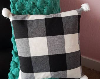 Black and White plaid pillow cover with pom pom corners, 18 inch