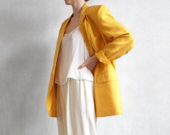 oversized yellow blazer / yellow peach blazer / minimalist blazer / boyfriend silk blazer / 80s 90s blazer