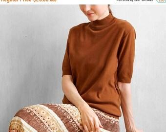 On Sale brown caramel sweater / 70s brown sweater / short sleeve sweater / mock turtleneck sweater / micro knit sweater