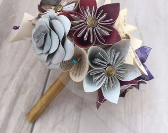 Mixed Paper flower bridal bouquet, paper flower bouquet, wedding bouquet, bridal bouquet, wedding flowers, throwing bouquet