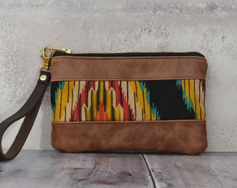 leather clutch, leather bag, aztec bag, boho clutch, clutch bag, leather wristlet, leather clutch bag