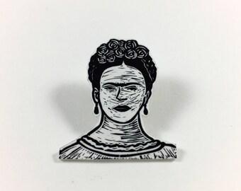 Frida Kahlo - Block Printed Pin
