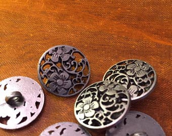 18 mm pewter colored metal shank button, fancy flower cut outs, set of 10