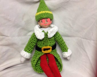 "Crochet jacket and hat for elf doll. christmas elf. 12"" doll clothes . Elf shelf clothes"