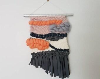 Mini weaved wall hanging in merino wool and organic jersey / READY TO SHIP