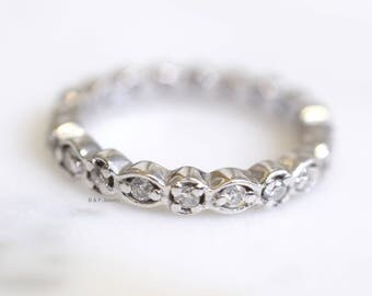 Vintage Style 14K White Gold Diamond Eternity Band