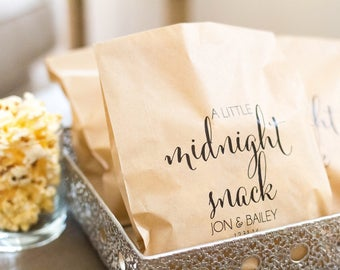 Treat Bags, Wedding Treat Bags, Midnight Snack, Popcorn Bar, Popcorn Bags, Wedding Favor Bags, Favor Bags, Candy Bars, Treat
