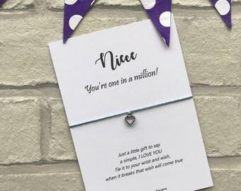"Niece Wish Bracelet, Niece Gift Card, Niece Bracelet, Niece ""you're one in a million"" Gift for Neice, Niece String Bracelet, Heart Charm"