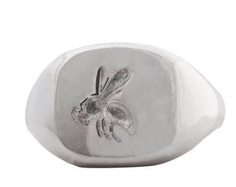 ON SALE Seal engraved BEE cushion sterling silver signet ring