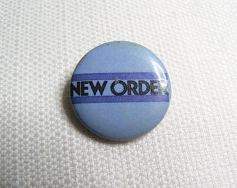 Vintage 80s New Order - Blue Logo Pin / Button / Badge
