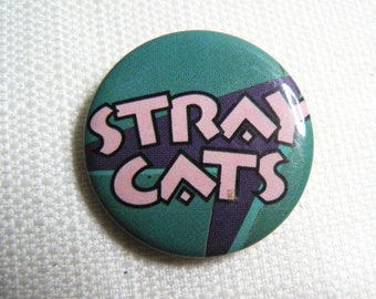 Vintage 80s - Stray Cats Logo - Pin / Button / Badge