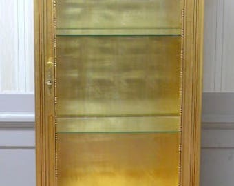 Baroque style China Cabinet, golden, 3-sided glazed