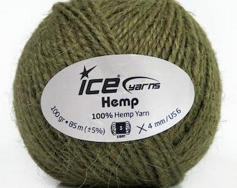 400 gr Natural Hemp Yarn, Hemp Cord For Macrame, 3 DK Worsted Weight, Khaki Hemp Twine, Jewelry Making, Gift Wrapping Cord, Summer Yarn