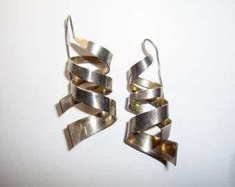 Dangling Drop Spiral Earrings, Mexican Sterling Large Vintage