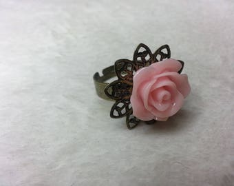 Ring metal bronze Rose pink