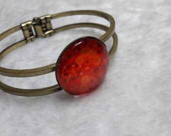 Bangle Bracelet bronze orange red flowers