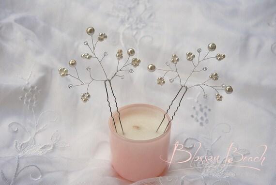 Set of 2 beaded bridal hair pins;pearl beaded hair pinc;pearl beaded bridal hair pins