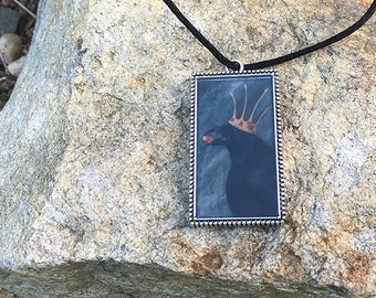 Raven Art Pendant Necklace // Resin filled Silver Tone Charm // Original Art by Tony Rector // Black Crow Fantasy Jewelry from Artwork
