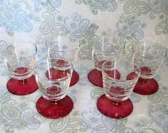 Set of 6 Vintage Cranberry Stemmed Dessert Glasses, Cranberry Iridescent Dessert Glasses
