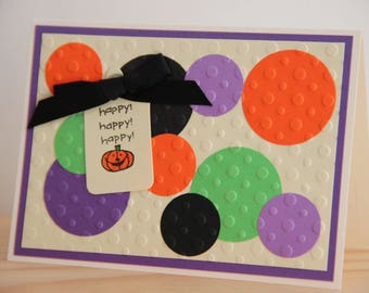 Embossed Halloween Card.  Handmade Pumpkin Card. Blank Halloween Card. Happy Halloween Card. Jack O Lantern Card.