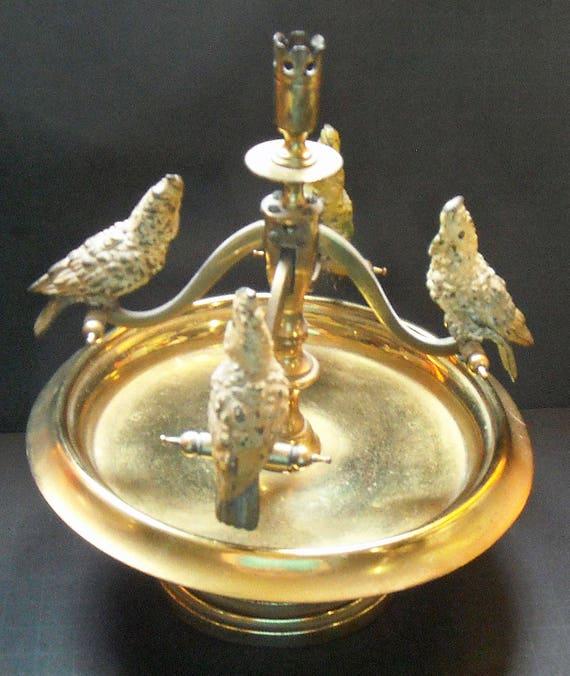 "Antique Austrian Bronze cockatoo ""seesaw"" Candle Holder"