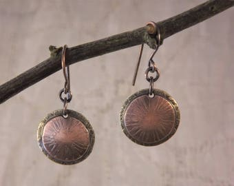 Etched Copper and Brass Disc Earrings (Starburst)